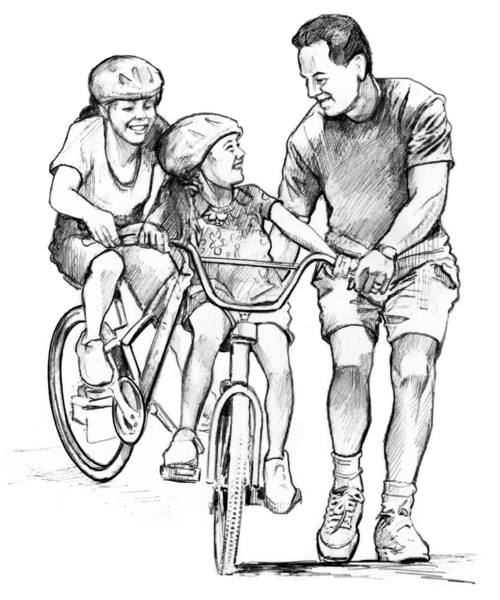 Drawing of a female child and a woman riding on bicycles. The child and the woman are wearing bike helmets. A man is running alongside the child's bicycle while holding onto the bicycle. The man and child are smiling at each another.