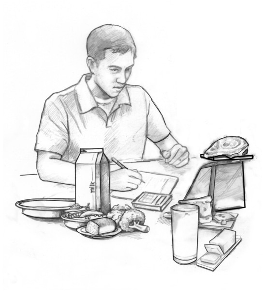 Drawing of a teenage boy weighing food on a scale and writing on a piece of paper. Some foods being weighed include meat, milk, broccoli, and bread.