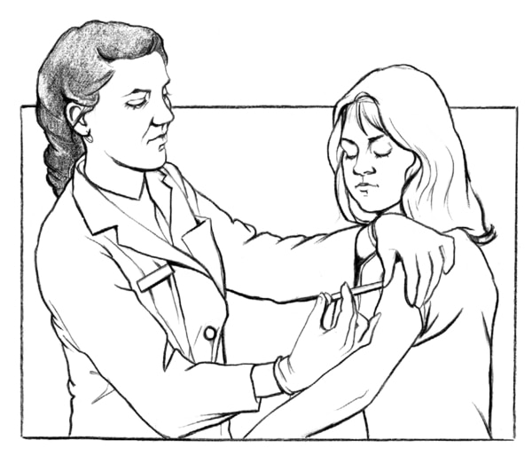 Drawing of a female health care provider giving a hepatitis B vaccination shot in the upper left arm of a female patient.