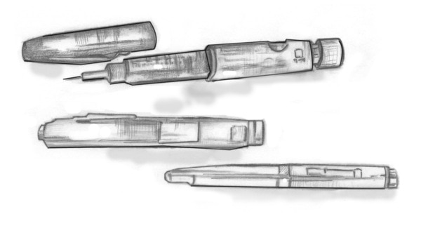 Drawing of several types of insulin pens. One of the pens has a needle attached.