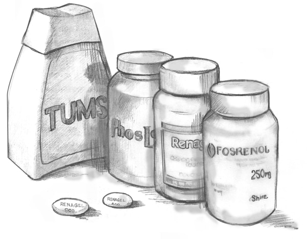 "Drawing of four pill bottles labeled ""Tums,"" ""PhosLo,"" ""Renagel,"" and ""Fosrenol."""