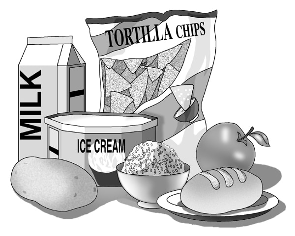 Drawing of a carton of milk, a bag of tortilla chips, a tub of ice cream, a potato, a bowl of rice, an apple, and a roll.
