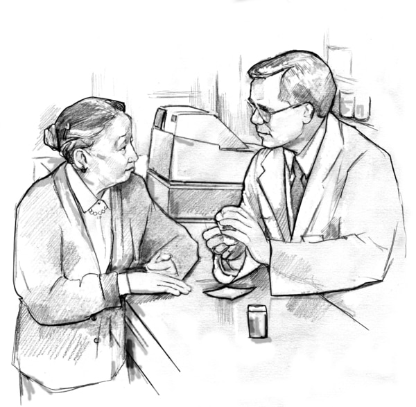 Drawing of an older female patient talking with a male pharmacist at a pharmacy counter.