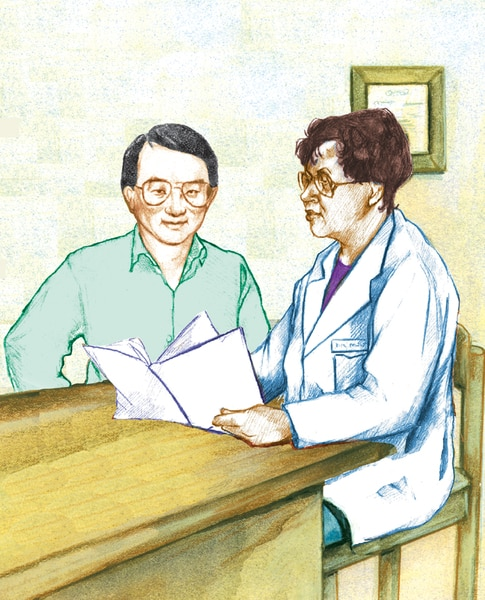 Drawing of a male Asian patient with a female African American doctor.