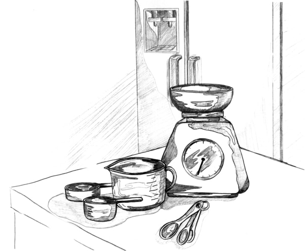 Drawing of food-measuring tools.