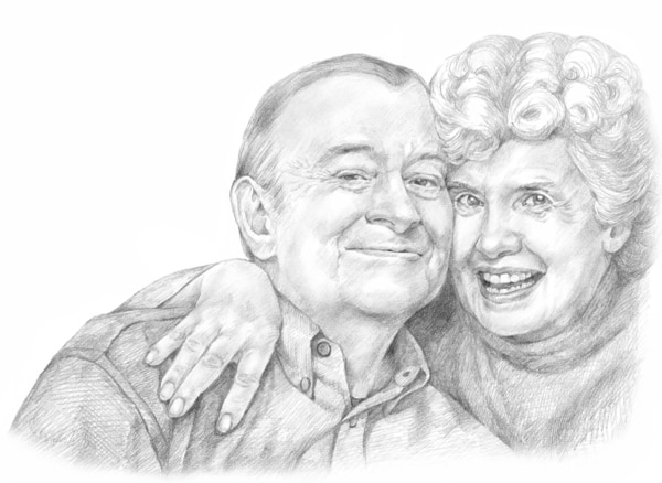 Drawing of a happy, older, Caucasian couple.