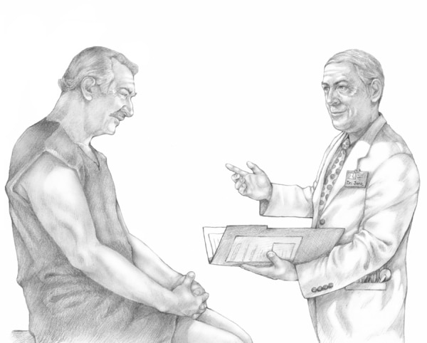 Drawing of an older male Caucasian patient in an examining room with an older male Caucasian doctor.