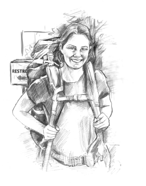 Drawing of a woman wearing a large backpack.