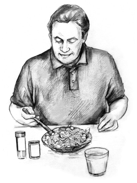 Drawing of a man sitting at a table, scooping his fork into a plate of food in front of him. Two pill bottles and a glass of liquid are also on the table.
