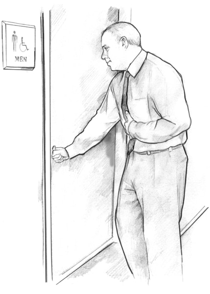 Drawing of a man entering the men's restroom with his hand on his stomach to indicate nausea.