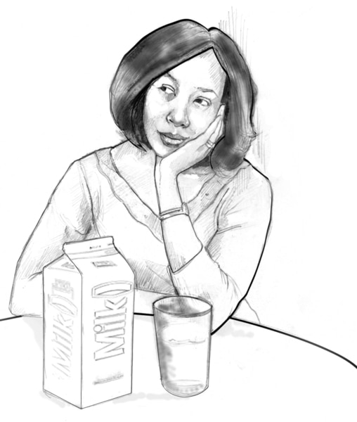 Drawing of a woman seated at a table with her elbow propped on the table and her head resting in her hand. A carton of milk and a glass are on the table.