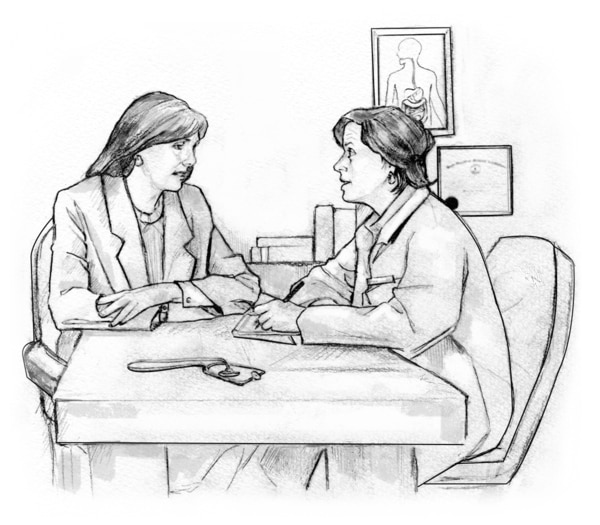 Drawing of a woman and a doctor seated at a table and talking in the doctor's office. The doctor is taking notes.