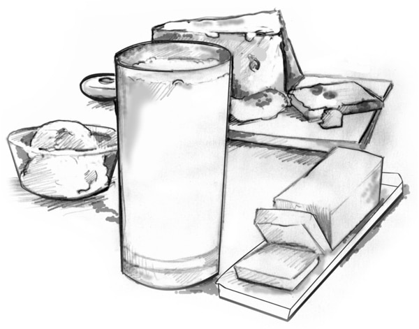 Drawing of a glass of milk, a dish of ice cream, a stick of butter, and a block of cheese.