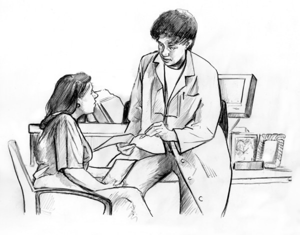 Drawing of a female doctor who is leaning against a desk, holding an open booklet and a pen in her hand. She is talking to a female patient seated in a chair.
