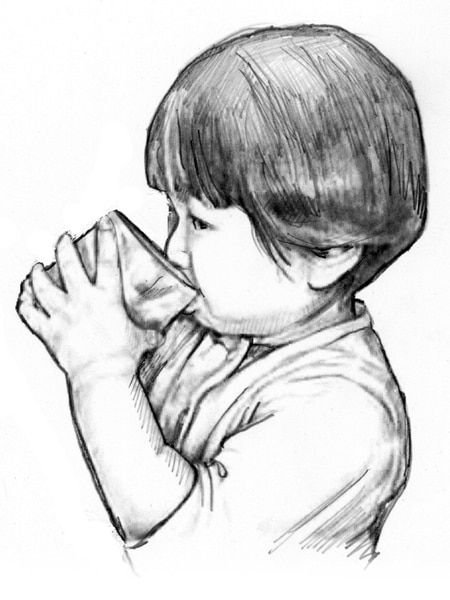 Drawing of a child drinking from a glass.