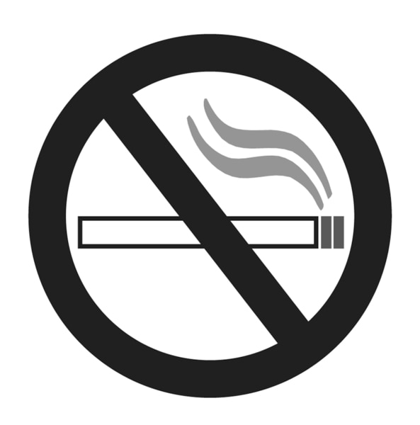 Drawing of no-smoking symbol. A lit cigarette inside a circle is crossed out by a heavy line.