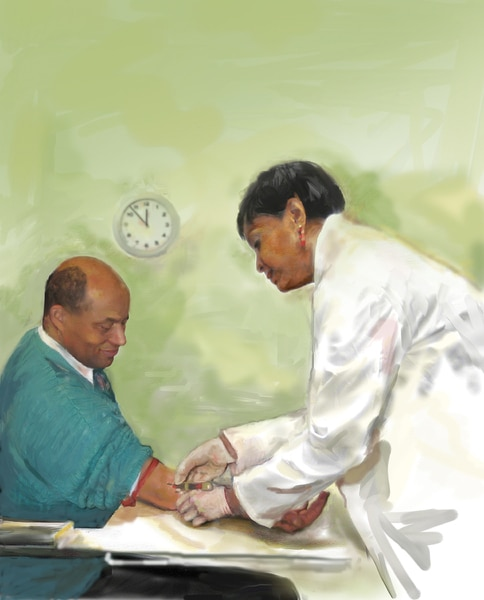Image of a female African American laboratory technician drawing blood from a male African American patient's right arm.