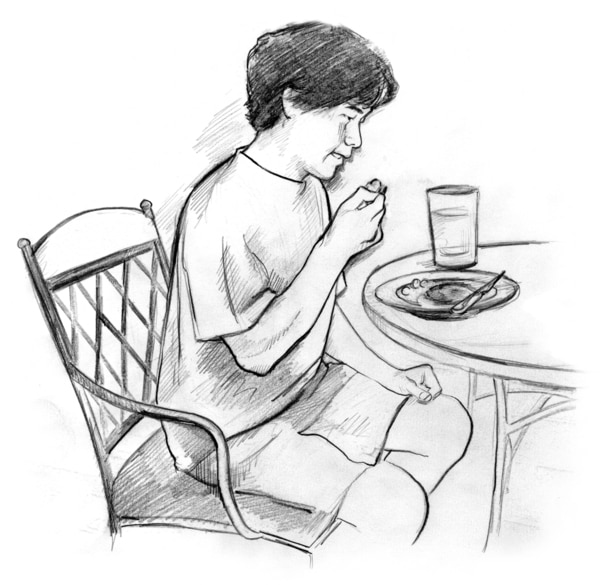 Drawing of a young man sitting at a table, eating a small meal.