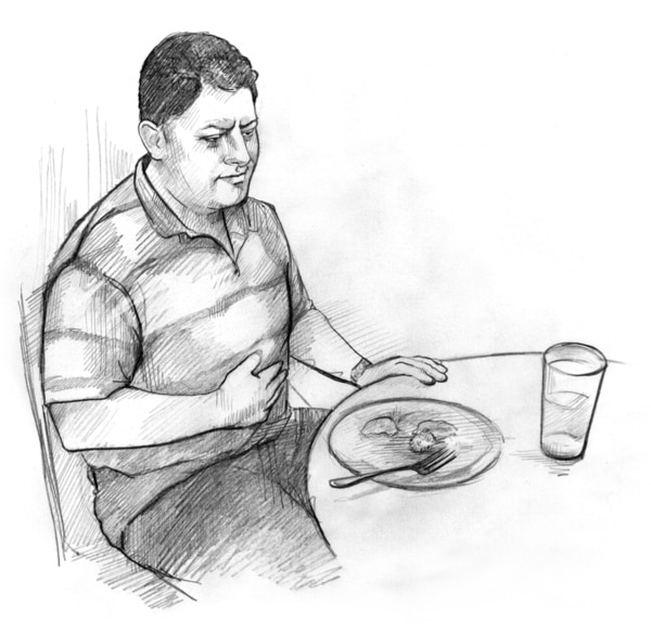 Drawing of a man who looks ill. The man is sitting at a dinner table and has one hand on his stomach.