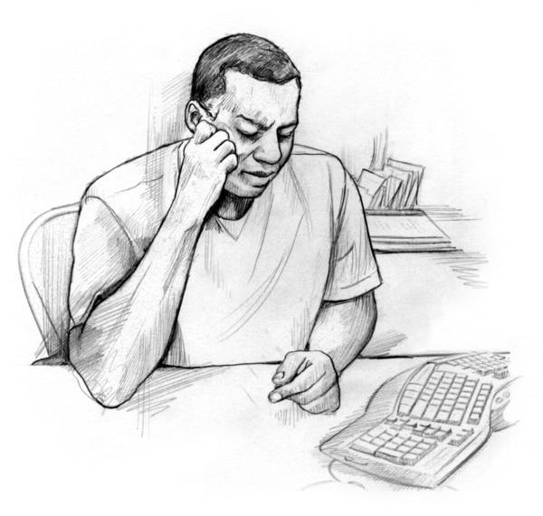 Drawing of a man sitting at a computer keyboard.