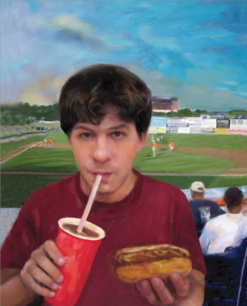Drawing of a young man at a baseball game drinking a soda and holding a hot dog.