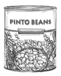 Drawing of can of pinto beans.