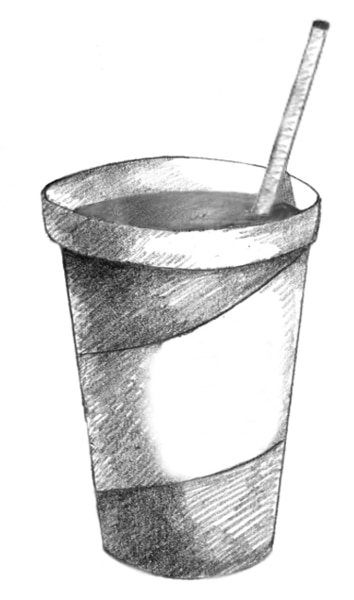 Drawing of a beverage cup.
