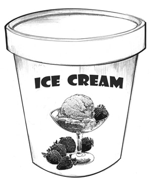 Drawing of a carton of  ice cream.