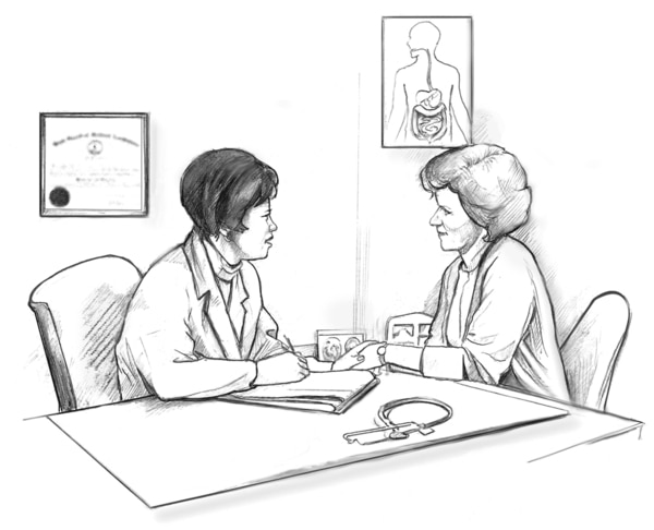 Drawing of a female physician and a female patient sitting at a table and talking. The physician's hand is placed over the patient's hand.