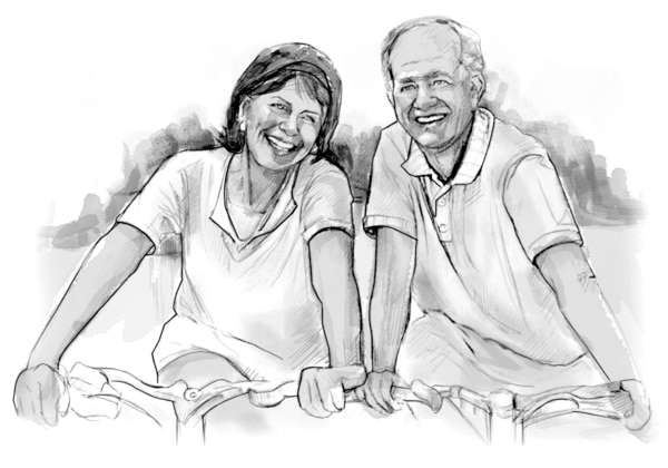 Drawing of a couple riding bikes and smiling.