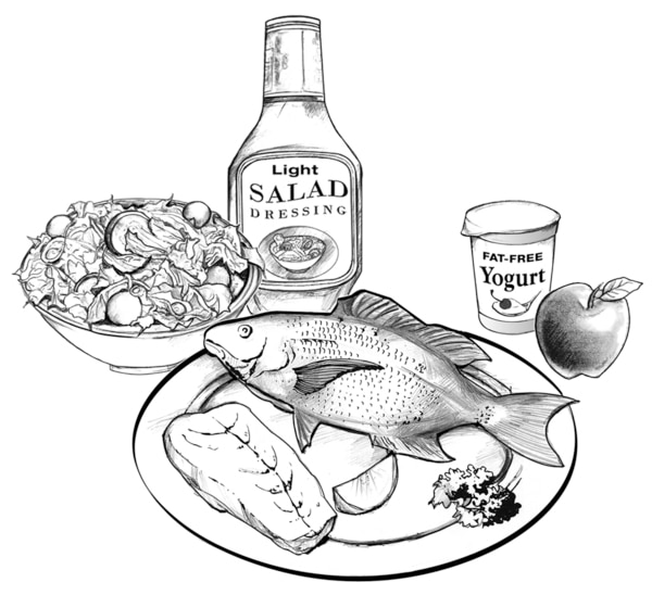 Drawing of a plate with fish, a bowl of salad, light salad dressing, fat-free yogurt, and an apple.