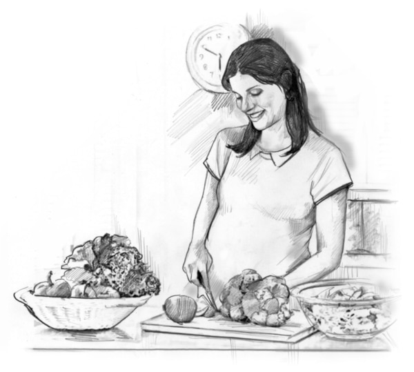 Drawing of a smiling pregnant woman standing in her kitchen and cutting fruits and vegetables. There are bowls of fresh fruits and vegetables on the counter.