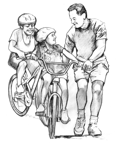 Drawing of a father helping his daughter learn how to ride a bike. A woman on a bike follows them.