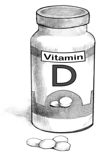 Drawing of a bottle of vitamin D.