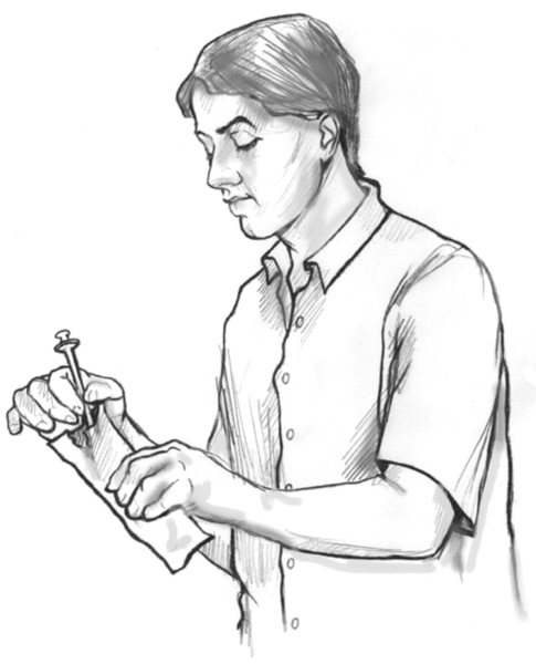 Drawing of a man taking a clean drug needle from a plastic sleeve.