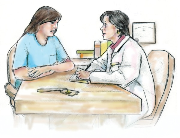 Drawing of a woman talking with her doctor.