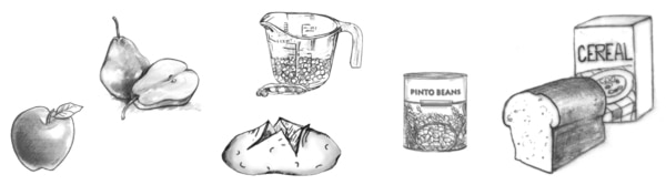 Drawing of a apple, pear, glass measuring cup filled partially with peas, baked potato cut open, can of pinto beans, loaf of bread and a box of cereal.