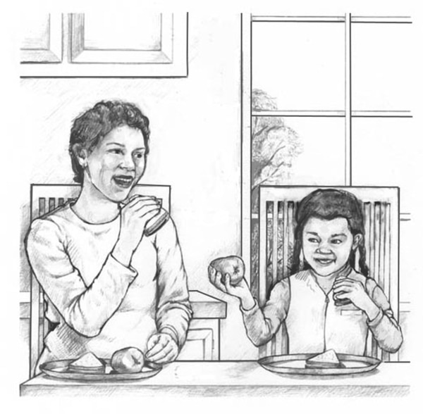 Drawing of a woman and girl eating.