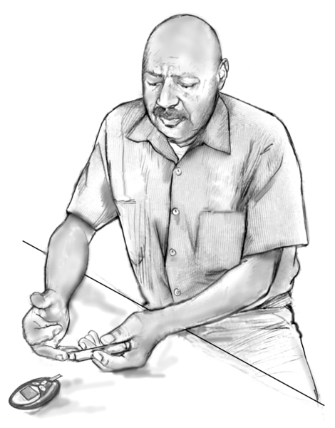 Drawing of an older man testing his blood glucose level with a blood glucose meter. He is seated at a table. The meter is on a table in front of him.