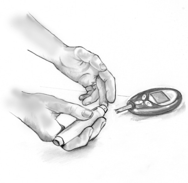 Drawing of a person testing their blood glucose level with a blood glucose meter.