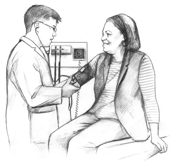 Illustration of a male doctor checking a woman's blood pressure.