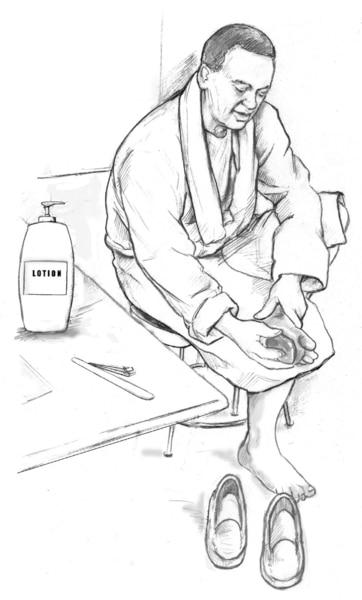 Drawing of a seated man gently smoothing away callouses from the bottom of his foot.