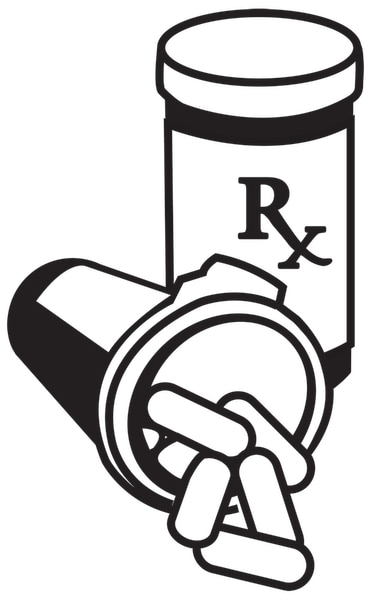 Drawing of two prescription medicine bottles.