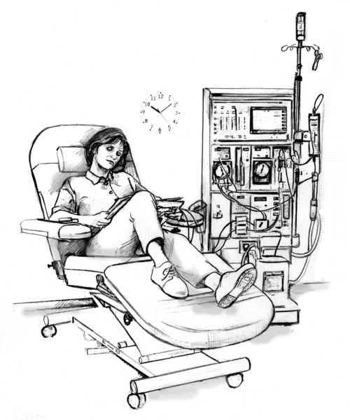 Drawing of a woman receiving hemodialysis treatment in a clinic. A wall clock behind the woman reads 10:10 a.m