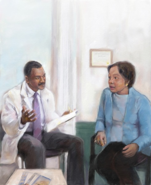 Color drawing of a male doctor talking with a female patient.