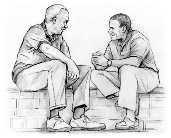 Drawing of a father and son talking.