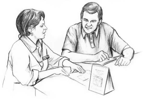 Drawing of a female doctor talking with a male patient.