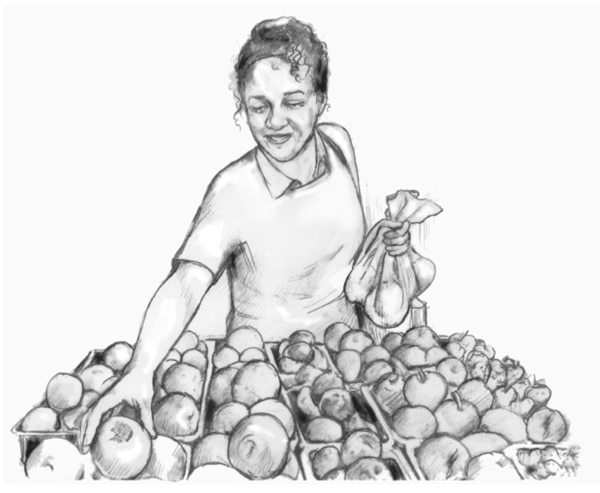 Drawing of a woman shopping for produce.