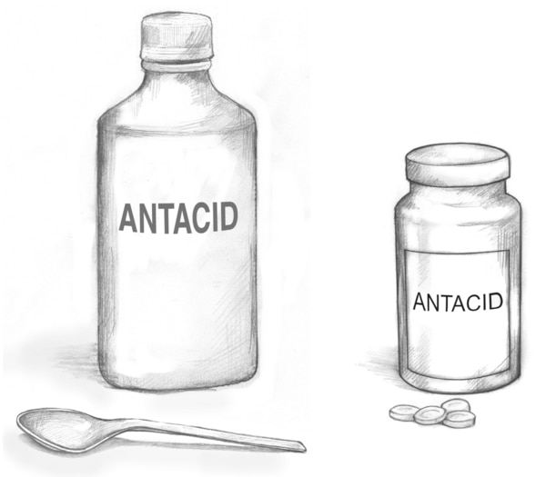 Drawing of a bottle of liquid antacid and a bottle of antacid pills.