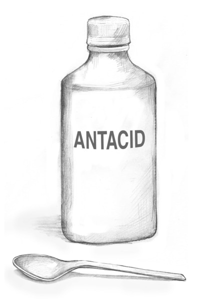 Drawing of a bottle of liquid antacid.